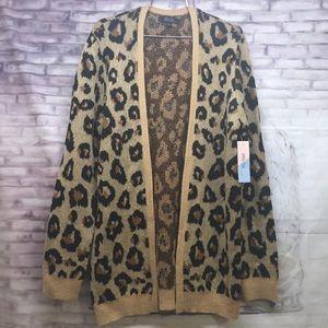 Witty Fox Cheetah Cardigan Sweater Sz.L NEW